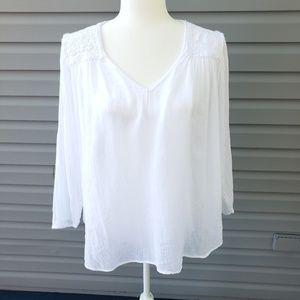 NWT Current/Elliott Picnic Shirt white crochet Sz0